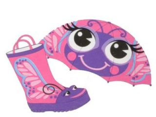 Western Chief Rain Boots Umbrella Set Girls Purple Pink Butterfly Kids 7 8