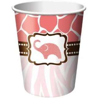 Wild Safari Pink Elephant Hot Cold Paper Cups 8 Ct Baby Girl Shower Party Supply