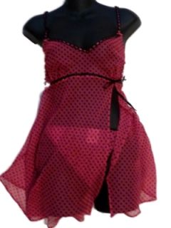 Womens Pink Black Polka Dot Fly Away Baby Doll Christmas Thong Lingerie
