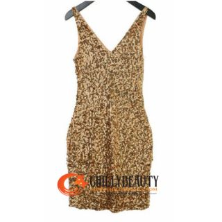 C0062 Shiny Sequin Tunic Dress Gossip Girl Gown Gold