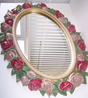 Shabby Chic Pink Gold Green Rose Frame Mirror Home Interiors Crackle Finish