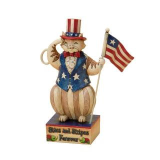 Jim Shore Stars and Stripes Salute Patriotic Cat Holding Flag Figurine