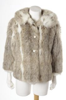 Maria Dionisious Gray White Faux Fur Fully Lined Coat Jacket Size 6X