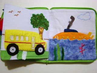"Children's Cloth ""Transportation Book"" Embroidered Educational Soft Book"