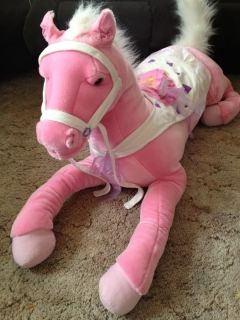 Huge Animal Alley Pink Stuffed Plush Horse Large Toy