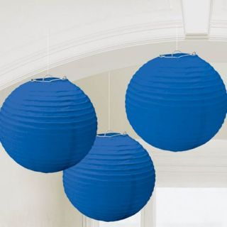 Pack 3 Paper Hanging Ceiling Lanterns Royal Blue Wedding Party Decorations 24cm