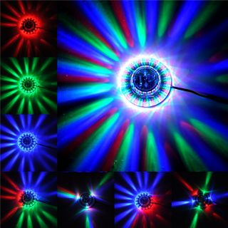 New Sunflower 48 LED RGB Light 8W Voice Activated Auto Rotating Party Stage DJ