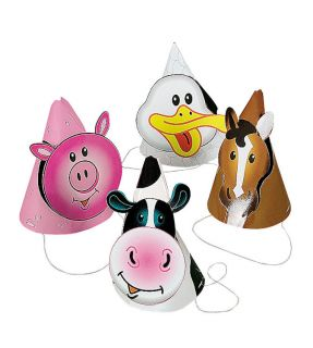 8 Farm Animal Cone Hats Birthday Barnyard Horse Cow Pig Duck Party Favors