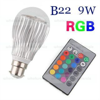 E14 E27 MR16 B22 3 5 9W 16 Color Change RGB LED Lights Bulb Lamp Remote Control