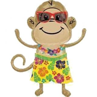 Huge Super Shape Foil Balloon Hawaiian Luau Monkey Boy 83cm Party Decoration