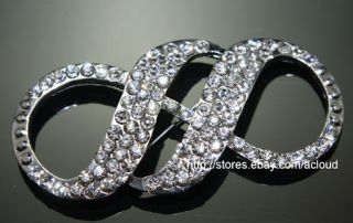 Twins Infinite Wedding Bridal Rhinestone Dress Sash Craft Cake Brooch Pin