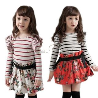 Kids Toddlers Striped Top Shirt Flower Floral Tutu Skirt Girl Dress Sz 2 7 Years