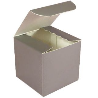 Cupcake Cookie Candy Favor Gift Boxes 4x4 100pc Silver