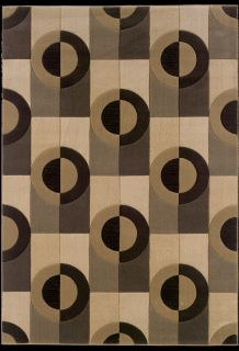 Modern Contemporary Stripes Geometric Square Area Rugs Brown Beige SPx 5644FU5