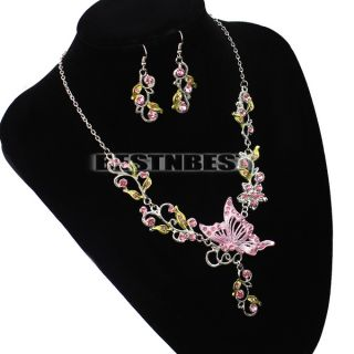 Butterfly Jewelry Rhinestone Crystal Pendant Necklace Earring Set 3 Colors New