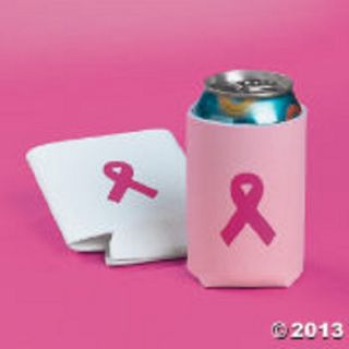 12 Breast Cancer Awareness Pink Ribbon Can Coolers