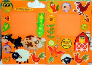 16 Country Farm Animals Magnetic Photo Frames Party Favors Orange Green Handmade