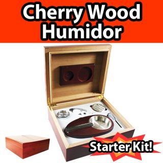 Cherry Wood Cigar Humidor Kit w Tray Dropper Cigar Cutter Hygrometer Humidifier