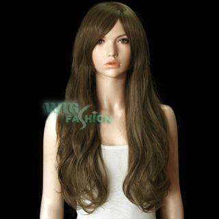 Heat Resistant Long Blonde Brown Fashion Party Hair Wig with Bangs