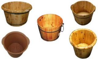 Round Wooden Portable Spa Massage Foot Bath Soaking Tub Bucket Barrel Cask