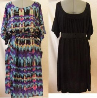 Lot of 2 Tessuto Miss Tina Womens Clothing Belted Dresses 3X 22W 24W