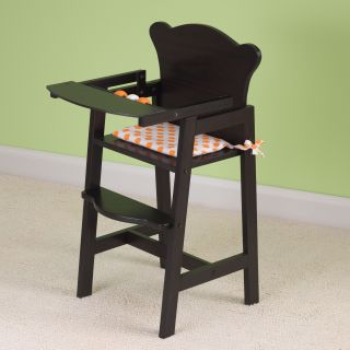 KidKraft Lil' Doll Wooden Baby High Chair w Seat Pad Espresso 60126
