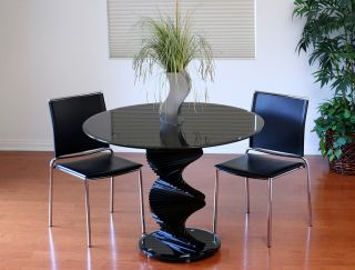 "Transdeco 42"" Round Black Glass Dining Table New"