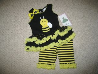 "New ""Busy Bee"" Tutu Capri Girls Baby Clothes 24M Spring Summer Boutique Party"