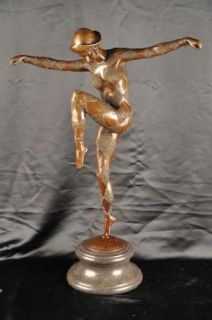 Bronze Deco Chiparus Harlequin Dancer Figurine
