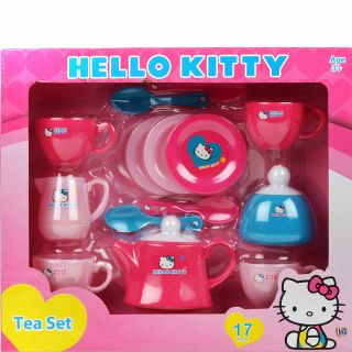 New 17pc Hello Kitty Tea Party Set Childrens Child Role Play Sets Cup Spoon Pots