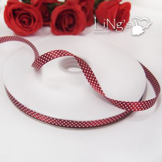 "3 8"" 10mm 25Y 100Y White Dot Satin Ribbon Wedding Party Favor Gift Decor Craft"