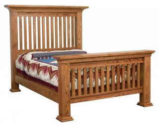 Amish Luxury Mission Bed Solid Wood Slat Post Bedroom Furniture King Queen Full