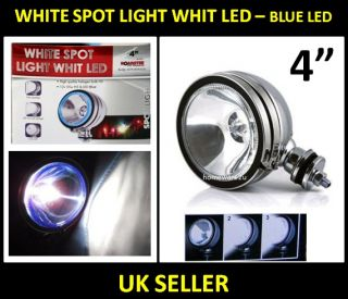 "4"" White Spotlight Spot Light Chrome Angel Eye Blue LED Lamps Fog for Car 4x4"