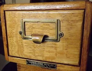 Vtg Circa Early 1900 Yawman Erbe One Drawer Quartersawn Oak Dovetail File Box