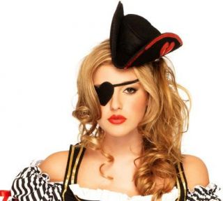 New Sexy Sequin Pirate Hat and Heart Shape Eye Patch Women's Costume Accessory