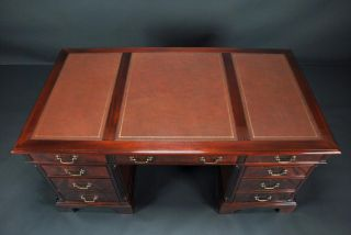 Large High End Leather Top Executive Mahogany Office Desk