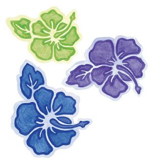 Tropical Flowers 25 Blue Purple Wallies Hibiscus Hawaiian Instant Sticker Border