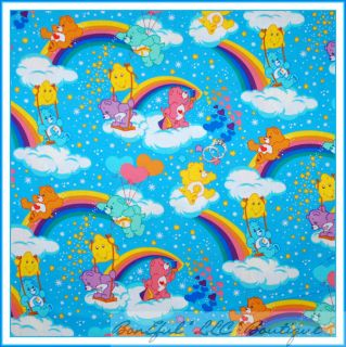 BonEful Fabric FQ Care Bear Teddy Rainbow Cotton Quilt Baby Girl Star RARE Retro