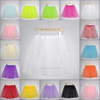 Multi Color Tutu Ballet Skirts Adults Teen Big Girls Dancing 3 Layer Party Dress
