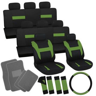 25pc Set Green Black Van Seat Covers Wheel Belt Pad Head Rests Gray Floor Mats