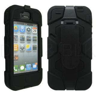 Rugged Combo Heavy Duty Hard Case Cover Belt Clip Holster Stand for iPhone 4 4S
