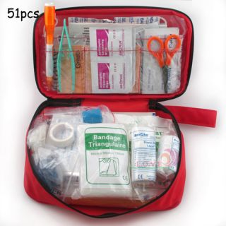 51pcs 24pc Emergency Bag Car Medical Office Travel Outdoor Survive First Aid Kit