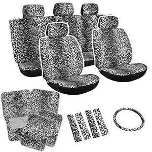 15pc Set Seat Cover Gray White Snow Leopard Print Floor Mat Wheel Belt Head Pad