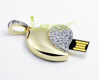 Crystal Decoration Heart Necklace USB Flash Memory Pen Drive Stick 4 32GB XL98
