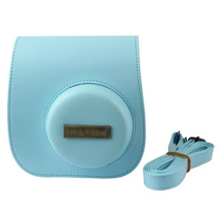 Sky Blue PU Leather Case Camera Shoulder Bag for Fujifilm Fuji Instax Mini 8