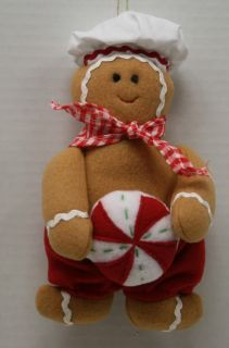Kurt Adler New Gingerbread Plush with Peppermint Christmas Ornament 7 1 2'