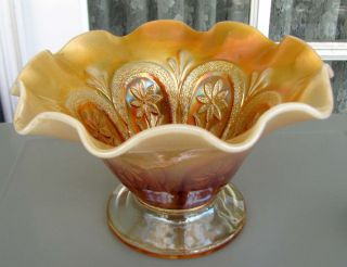 Flowers and Frames Peach Opalescent Carnival Glass Whimsey by Dugan Circa 1915