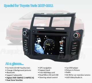 New in Dash Car Radio CD DVD  Player w GPS Audio Aux F Toyota Yaris 2007 2011