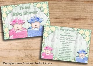 Twins Baby Shower Printable Invites Girl Boy Cheap Double JPEG Invitations