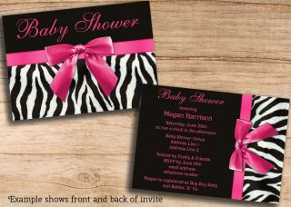Girls Baby Shower Invitations Zebra Stripes Pink Bow DIY Printable JPEG Invites